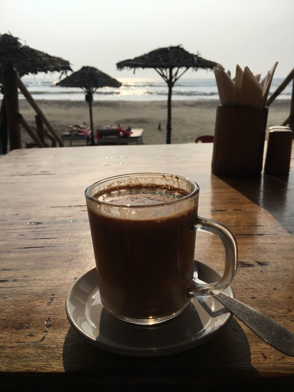 Beach Beach Life Breakfast Close-up Coffee - Drink Coffee Cup Drink Food And Drink Frothy Drink Goa Good Morning Heat - Temperature India MasalaTea Mocha No People Sea Table Tea