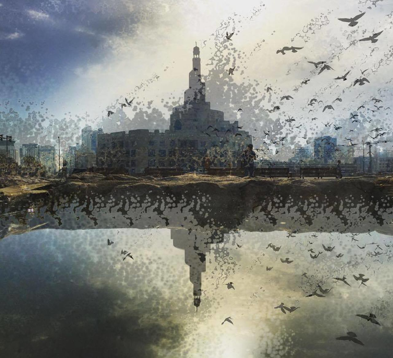 reflection, water, no people, wet, sky, outdoors, built structure, puddle, architecture, day, building exterior, nature, city