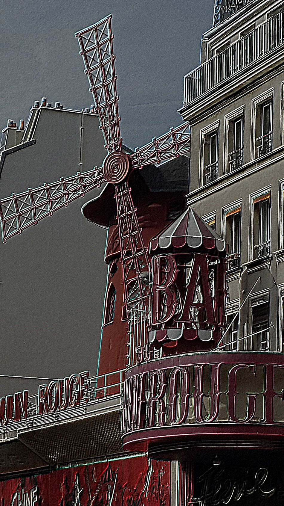 Architectural Feature Architecture Building Building Exterior Built Structure Can Can City Clear Sky Connection Construction Site Day Low Angle View Metal Metallic Moulin Rouge Moulin Rouge Paris No People Outdoors Paris Scene Railing Red Residential Building Sky Window