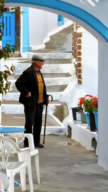 Adult Architecture Building Exterior Built Structure Cold Temperature Day Full Length Greece Lifestyles Old Man One Person Outdoors People Real People Santorini Standing Warm Clothing Winter The Portraitist - 2017 EyeEm Awards
