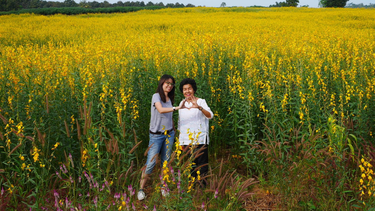 two people, togetherness, young women, agriculture, young adult, field, yellow, crop, flower, growth, bonding, full length, rural scene, smiling, front view, adult, people, nature, cheerful, oilseed rape, happiness, young men, standing, looking at camera, females, friendship, adults only, day, freshness, teamwork, grass, outdoors, food