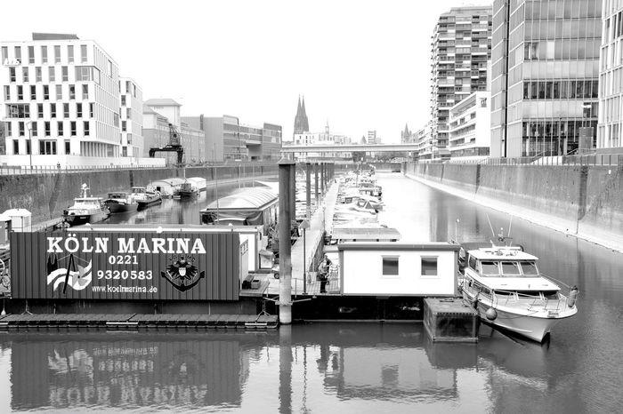 Transportation Architecture City Water River Harbour Bridge Rhine Cologne Blackandwhite Cityscapes Nikon Photography Yacht Boat Rheinauhafen Rheinufer