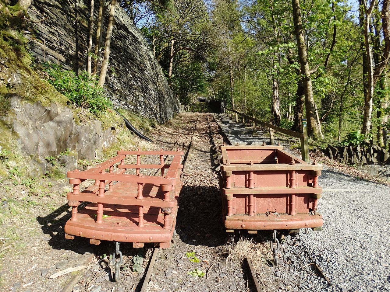 2 mining trucks on tracks. No People Mining Truck Trucks Cart Mine Cart Mine Truck Track Tracks Railroad Track Railway Track Rail Uphill Hill Steep Mining Industry Mining Heritage Old Abandoned Day Nature