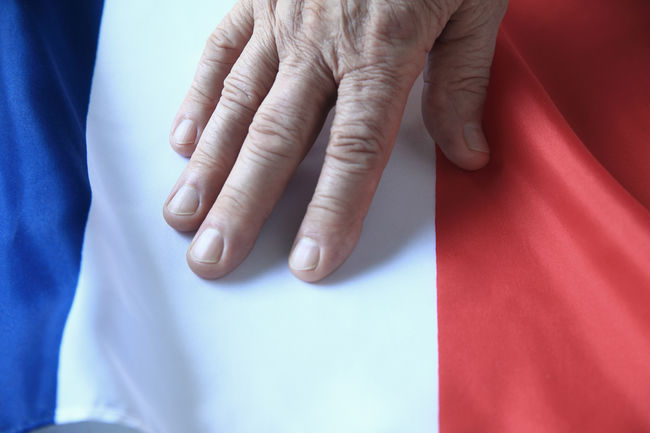 Flag of France with hand of a man Blue Close-up Copy Space Country Fingers France French Flag Government Hand Indoors  Loyalty Nation Natural Light One Person Overhead Patriotism Phone Camera Red Symbol Textures Touching Tricolor White