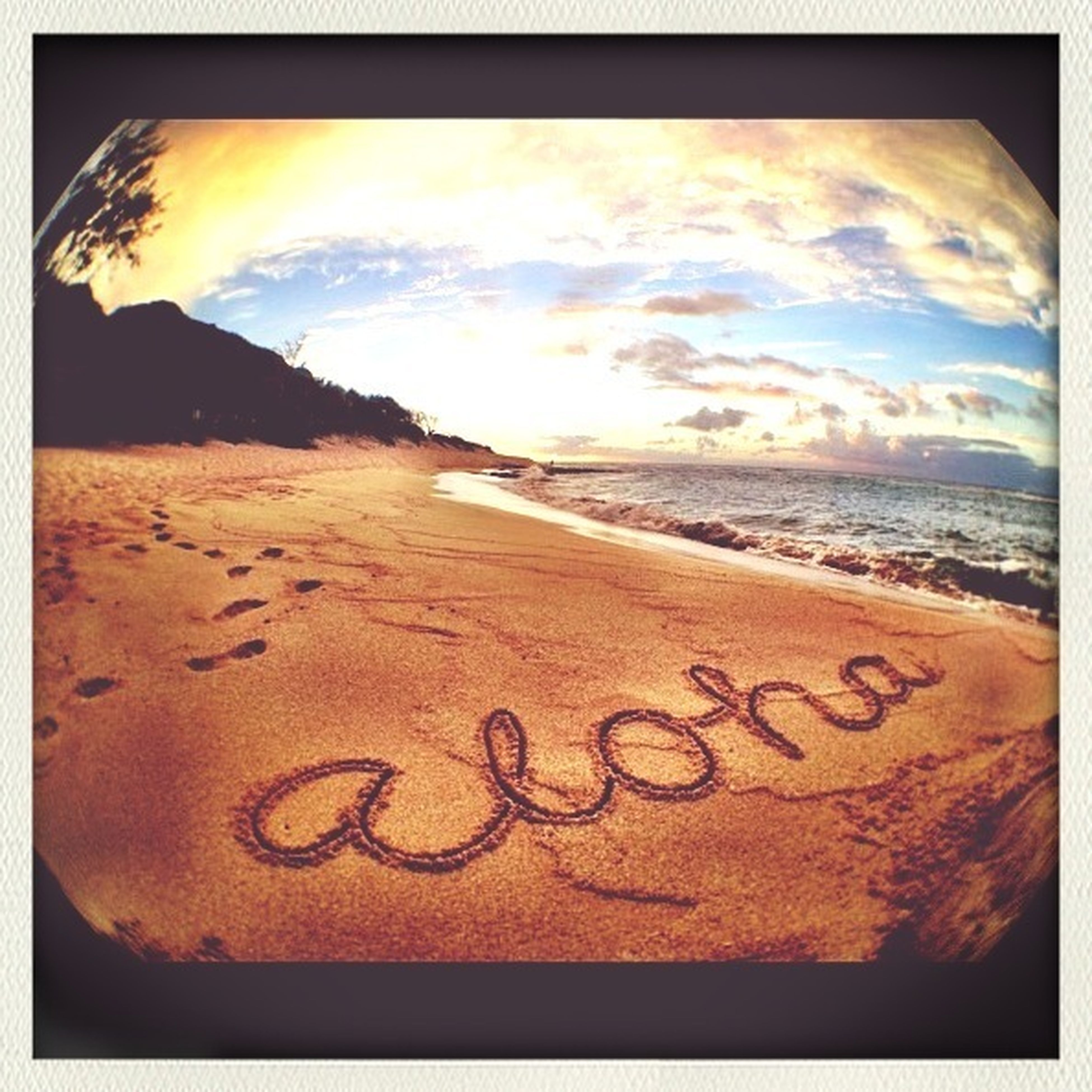 transfer print, beach, text, auto post production filter, sea, sand, western script, water, sky, shore, communication, scenics, horizon over water, tranquility, cloud - sky, tranquil scene, sunset, beauty in nature, nature, cloud