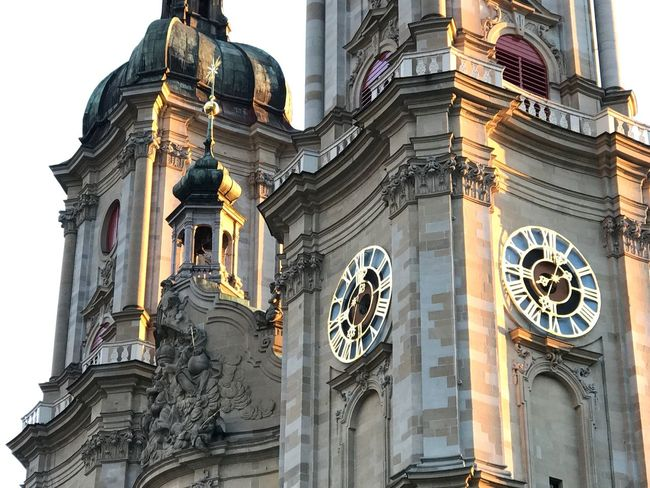 Church towers of the Roman Catholic cathedral in St. Gallen Architecture Building Exterior Low Angle View Sculpture Place Of Worship Famous Place History Outdoors Church Built Structure Religion Abbey
