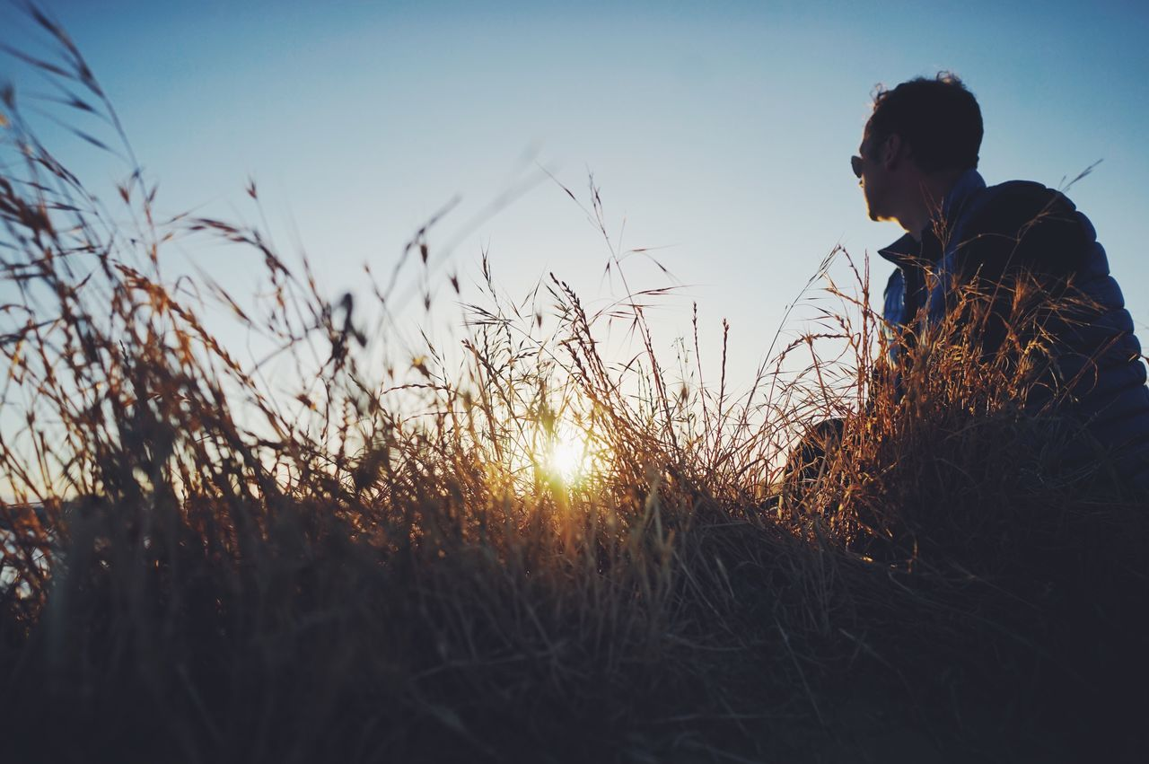 Sunset in Santa Cruz, CA // Sunset Field One Person Nature Sunlight Leisure Activity Sun Grass Real People Growth Women Silhouette Outdoors Plant Side View Lifestyles Beauty In Nature Tranquility Sky Clear Sky