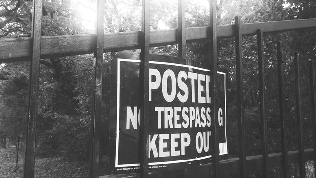 Trespassing Signs Keep Out Gate Iron Gate Go Away