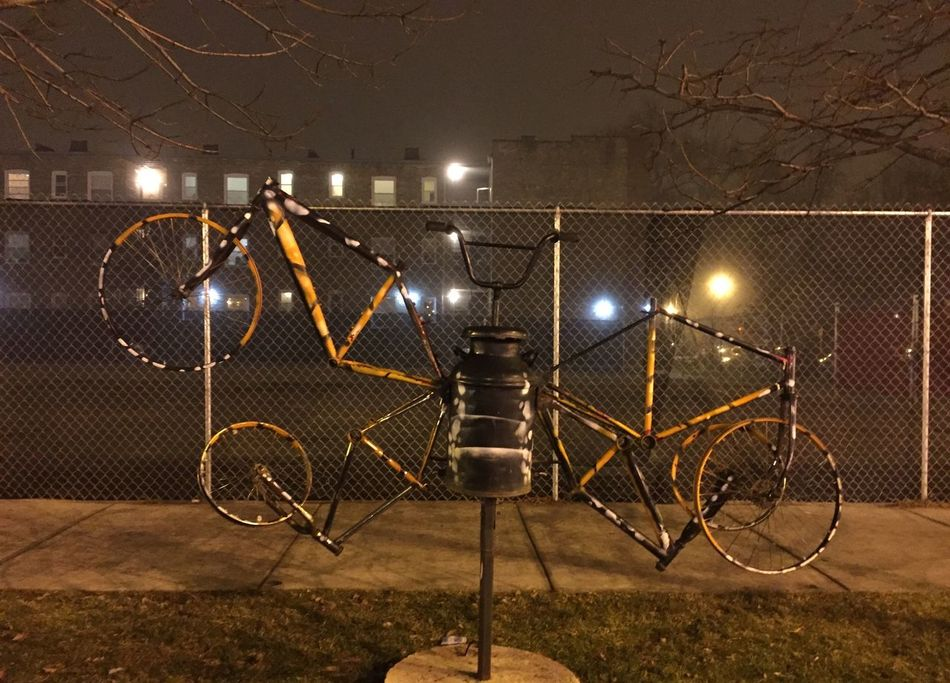 Chicago Rogers Park Chicago Illinois Sculpture Art Bicycles Bicycle Streetphotography Nightphotography Learn & Shoot: After Dark The OO Mission