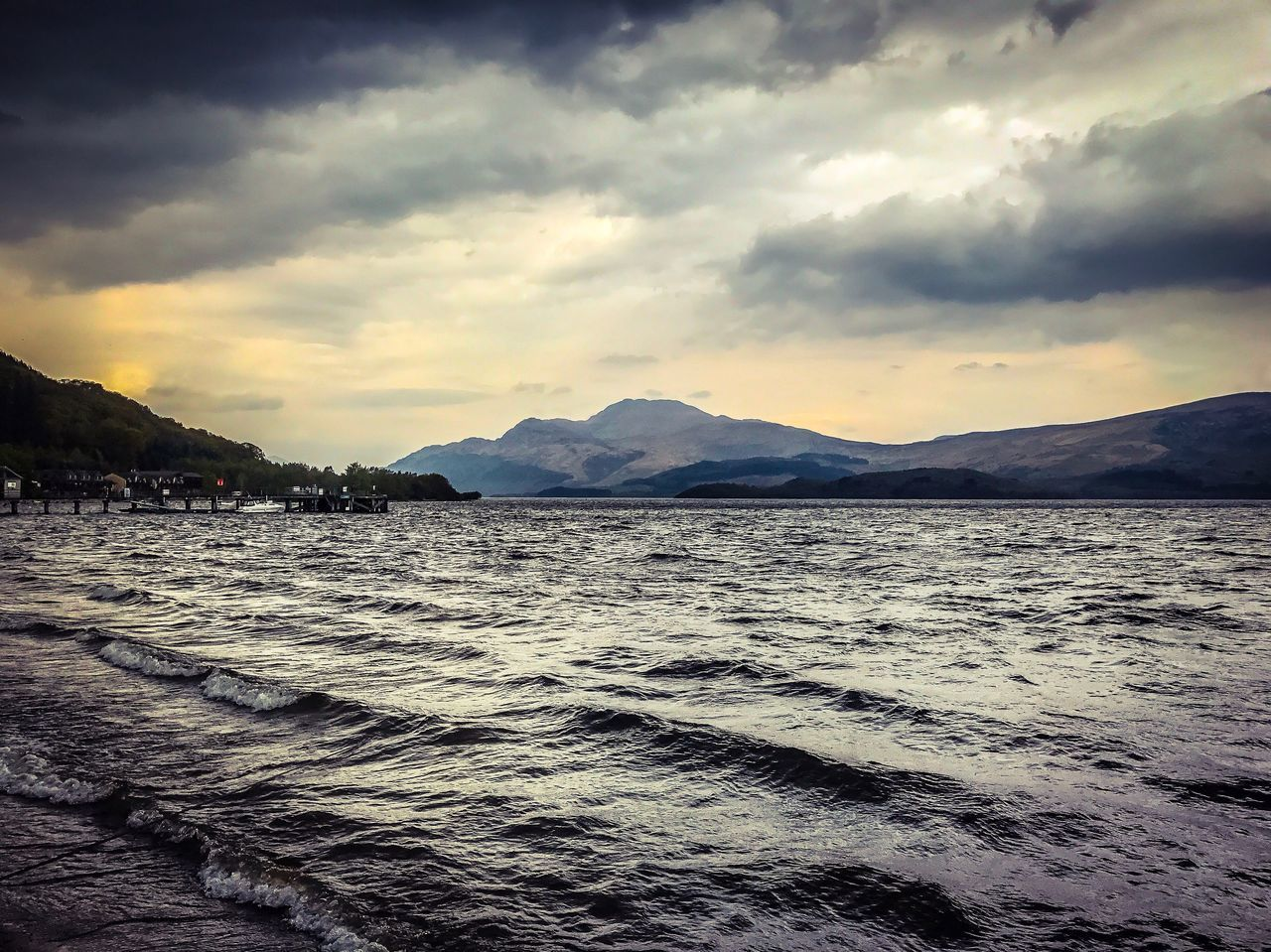 LochLomond Loch  Mountain Sky Beauty In Nature Cloud - Sky Nature Scenics Mountain Range Water Tranquility Tranquil Scene No People Sea Outdoors Waterfront Sunset Landscape Day Wave Power In Nature