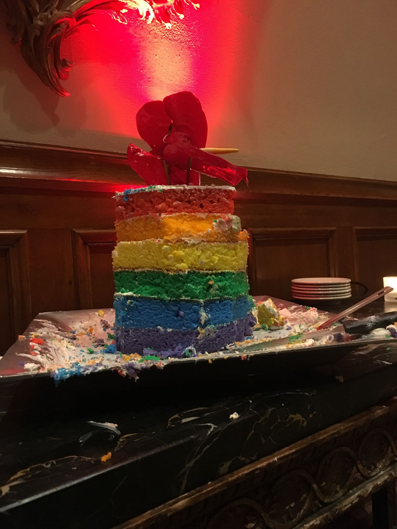 Celebrating love at a gay wedding. Multi Colored Sweet Food Indulgence Celebration Food And Drink Food Dessert Indoors  No Person Religion Temple Wedding Celebration Gay Pride Wedding Cake Still Life