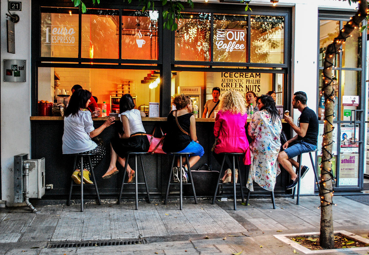 city break.. Adult Adults Only Athens Choice City City Break City Life Coffee Coffee Break Day Embrace Urban Life Friendship Full Length Outdoors People Togetherness Variation