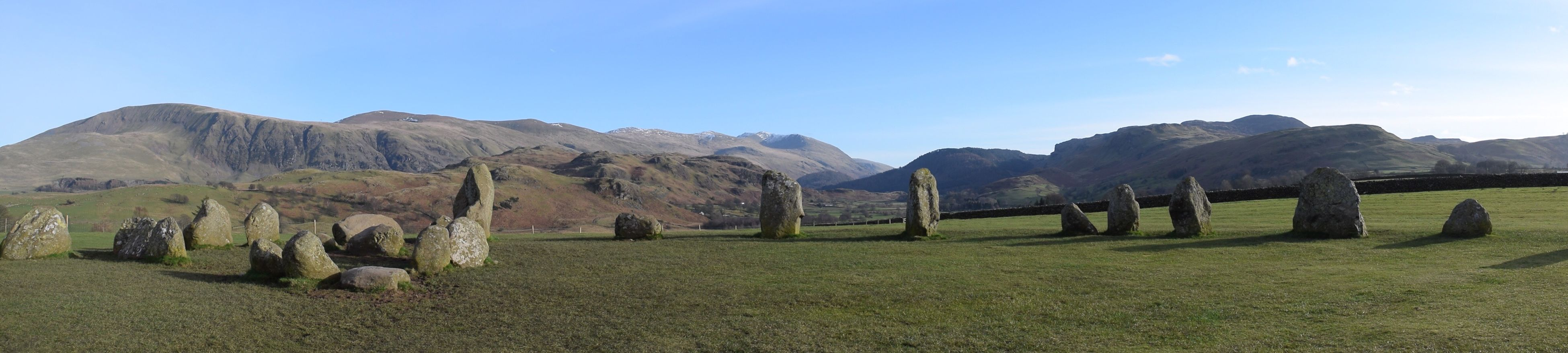 Casterigg Stone Circle • Keswick • The Lake District (Feb, 2017) | Castlerigg Stone Circle Keswick Lakedistrict Nature Stones Panoramic Nikond3300 Landscape Mountain Range Grass No People Clear Sky Tranquility Outdoors Mountain Green Color