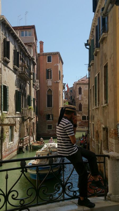 Italy Summer Sunny Day Enjoying Life Best Place To Visit Cityscapes Architecture Travel Photography Travel Gondolas Grande Canal Gondoliere Gondola Man Uniform Traditional Costume Culture Tradition Boat