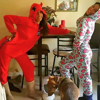 My Roommate  and I do things in Style Nbd Onesie iliveinmyonesie coolest badass Mexi got in on the pose love best hosbeforebros style girls cute strikeapose comfort westside youwish losers coolest though ....