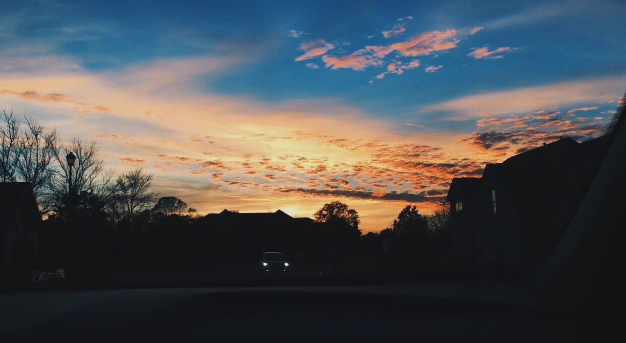 sunset, tree, silhouette, sky, car, road, no people, cloud - sky, nature, outdoors, beauty in nature, day