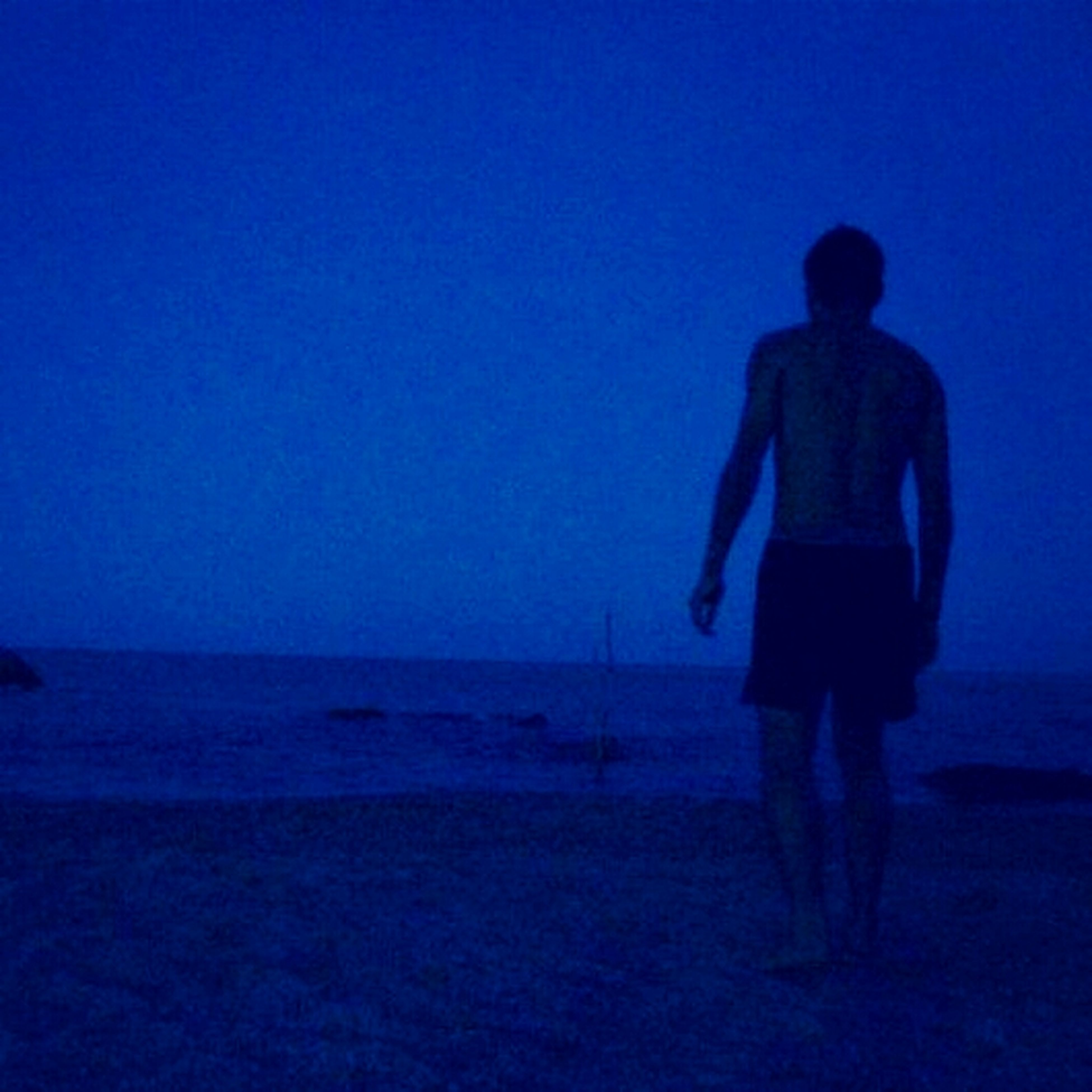 clear sky, copy space, blue, lifestyles, full length, silhouette, leisure activity, sea, men, standing, rear view, horizon over water, water, beach, tranquility, walking, person
