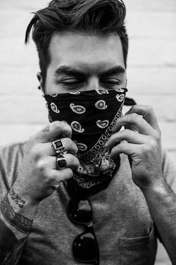 Adult Bandana Headshot Human Hand Lifestye Lifestyle Lifestyles Outdoors Portrait Ring Thug