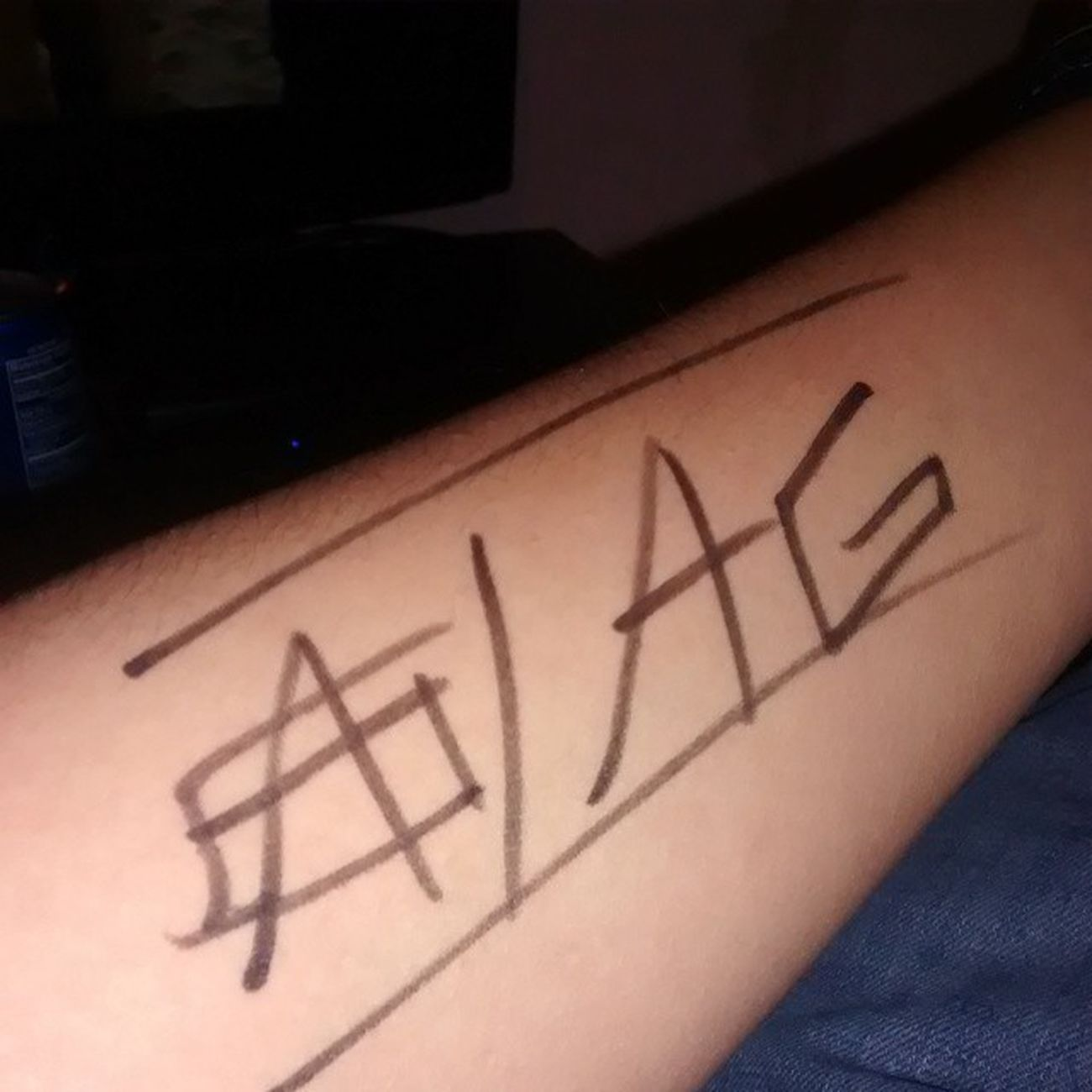 I should make a official tattoo like this. AGaming AGlogo NotOutYet Arm Gaming followforfollow follow4follow like4like likeforlike PermitMarker GottaLoveIt