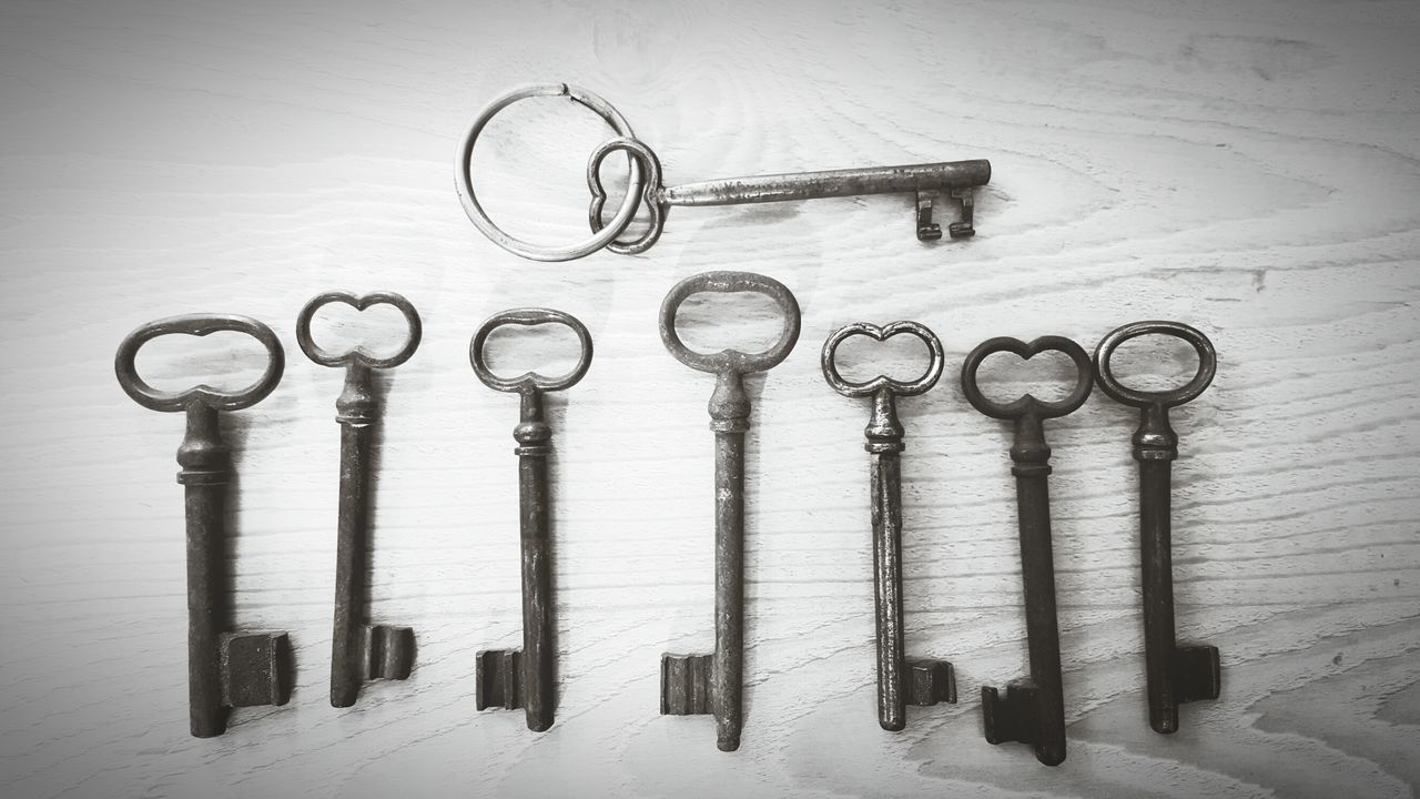 I Got The Keys! Keys Keys Photography Antique Close-up Focus On Foreground Art Detail Card Design Art Photgraphy Art Photography Vintage Vintage Style Vintage Stuff Vintage Decoration Indoors  High Angle View Mourning Card Large Group Of Objects Light And Shadow Wood - Material Metallic Directly Above Arrangement No People