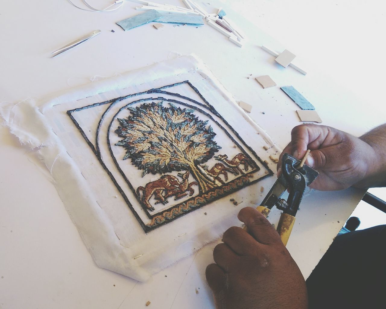 Mosaic Tiles Unfinished_art Mosaicartist Tree Of Life Working Hard Work In Progress Jordan Madaba Taking Photos Eye4photography  EyeEm Gallery