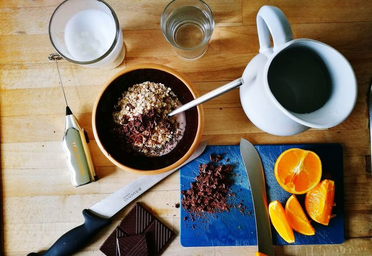 Food And Drink Indoors  No People Art Is Everywhere Homemade Food Everydaylife Directly Above Close-up Breakfast BreakfastTime  Making Food Orange Dark Chocolate ♥ Food Stories