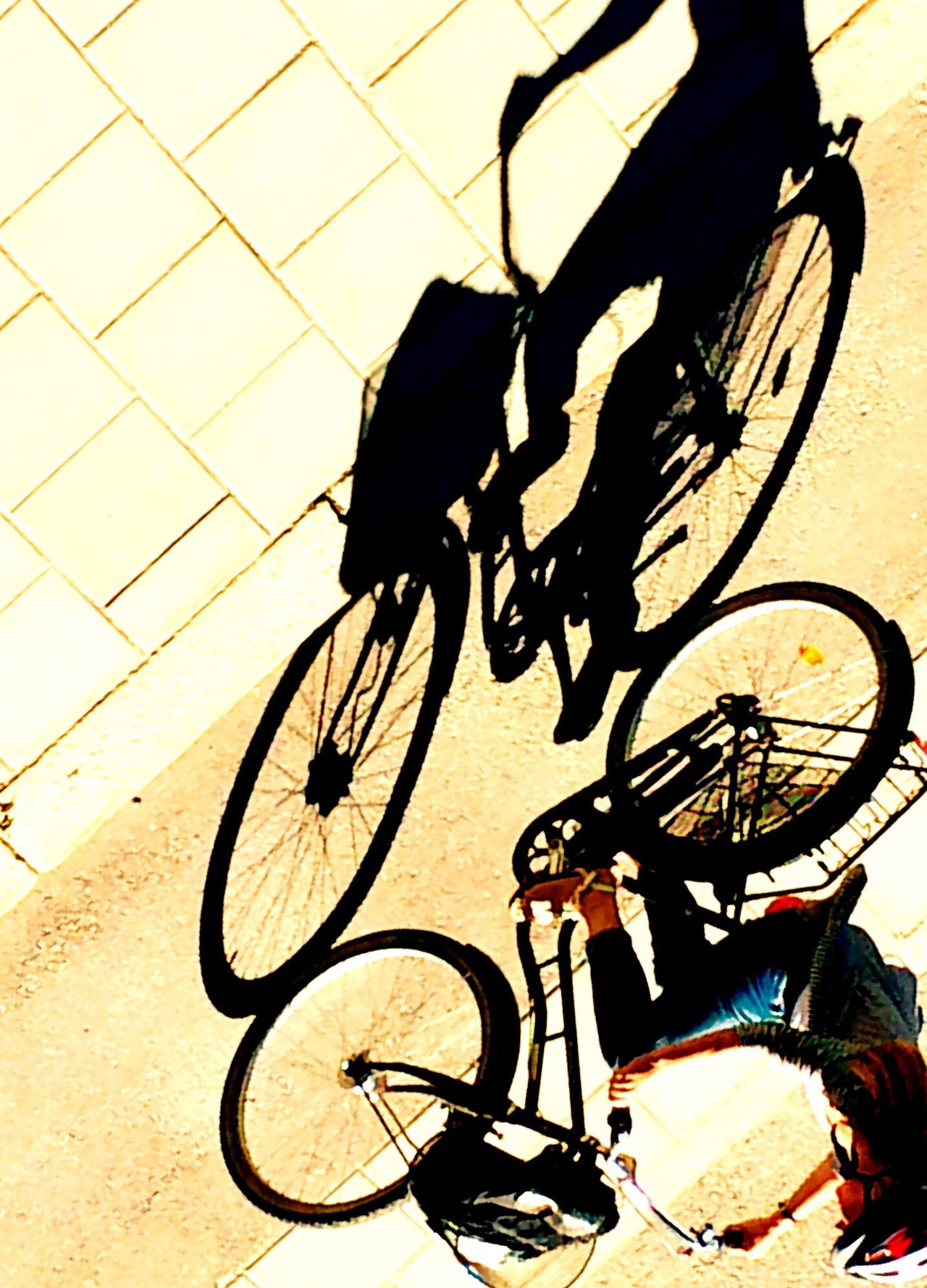 Shadows Bicycle Real People Lifestyles High Angle View Transportation Mode Of Transport Riding One Person Shadow Land Vehicle Low Section Men Human Leg Outdoors Sunlight Cycling Day