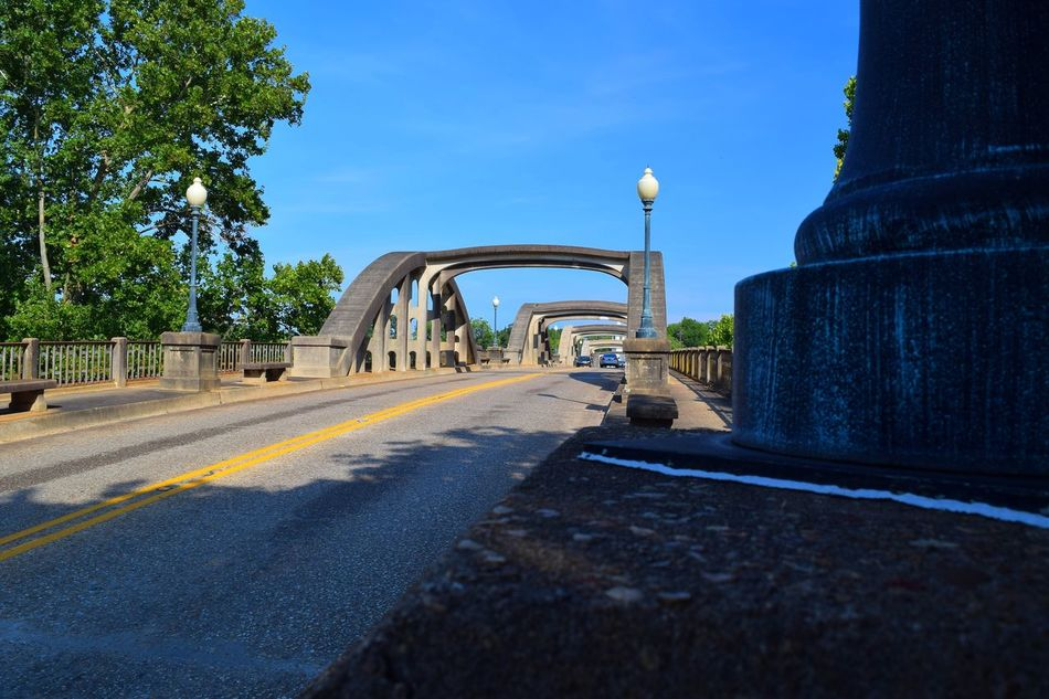 Old Bridge in Wetumpka, Alabama Arch Architectural Column Architecture Blue Bridge - Man Made Structure Built Structure Diminishing Perspective Footpath No People Road Sky Sunlight Sunny The Way Forward Vanishing Point Walkway