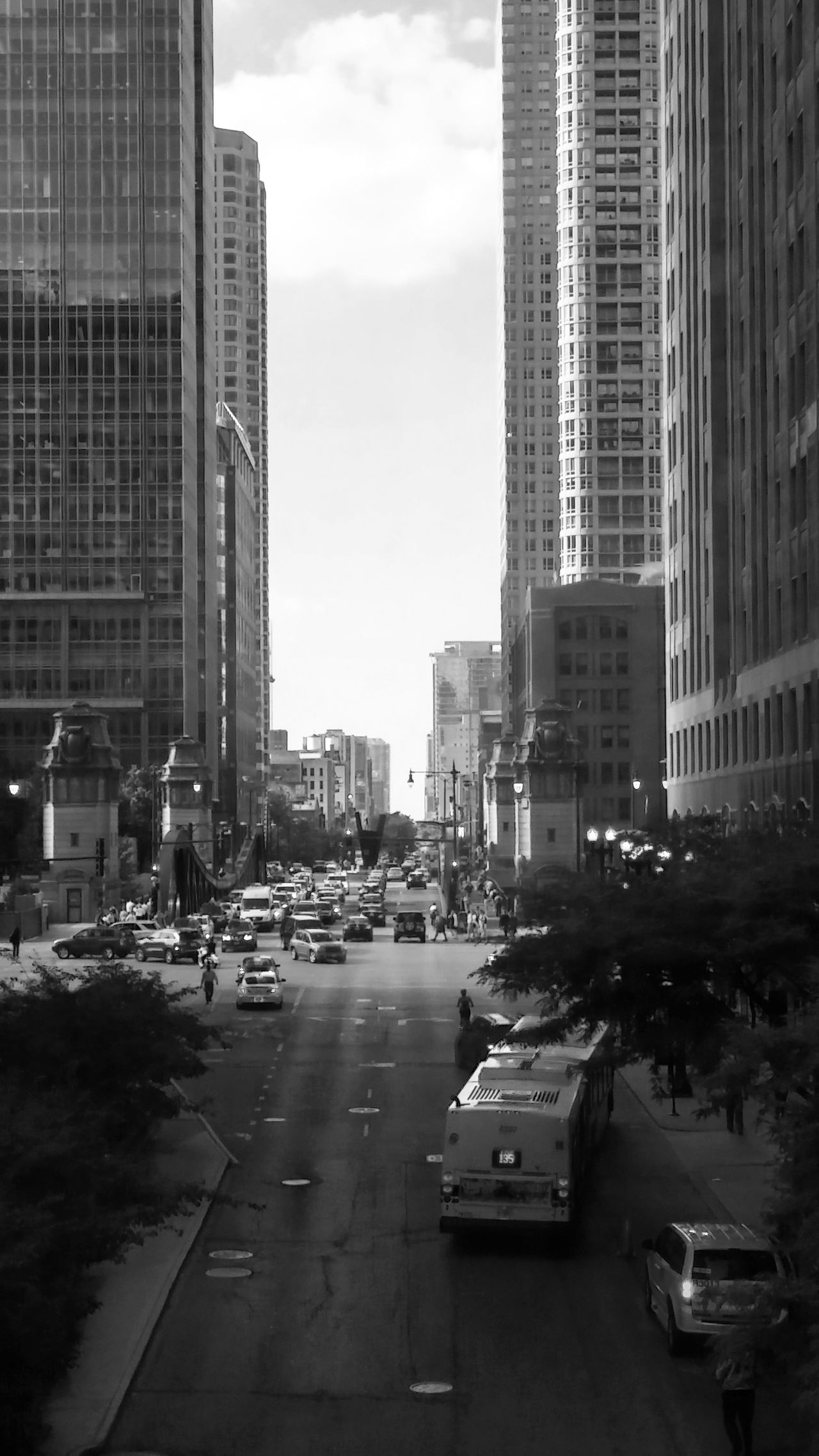 Architecture Blackandwhite Building Exterior Built Structure Car Chicago City City Cityscape Day Life Monochrome No People Outdoors Road Sky Skyscraper Transportation Travel View