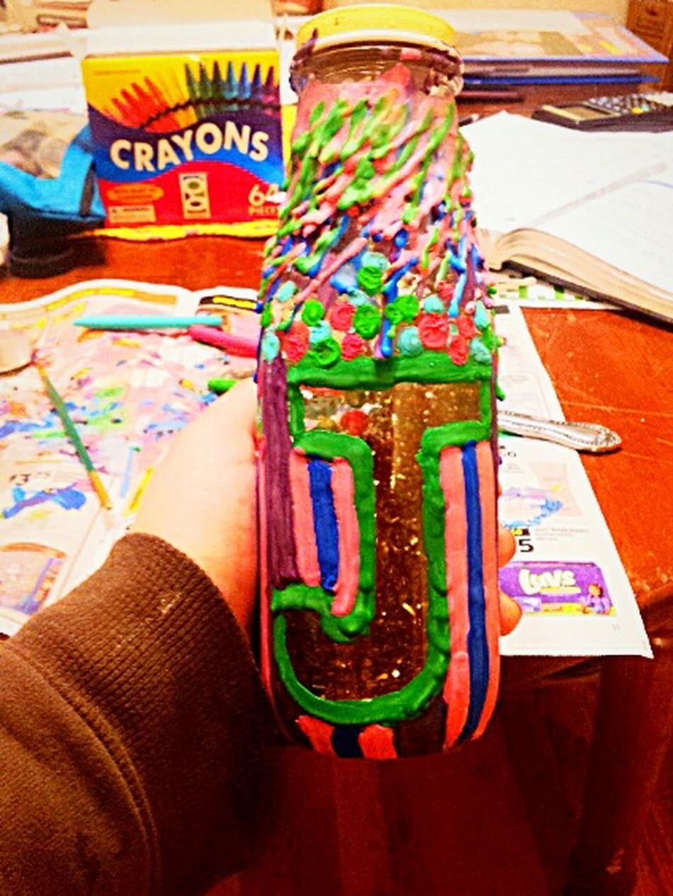 Make It Yourself what i like to call dripping bottles... and yes that artwork is made out of melted crayons ☺