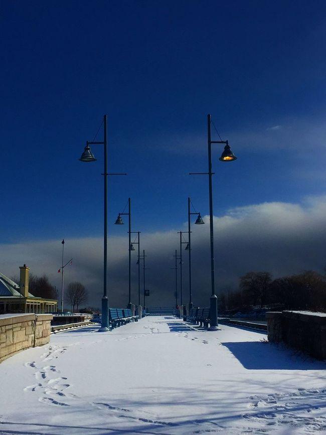 Port Credit Harbour View Lamp Posts IPS2016Winter Port Credit Blue Benches Blue Lamp Posts