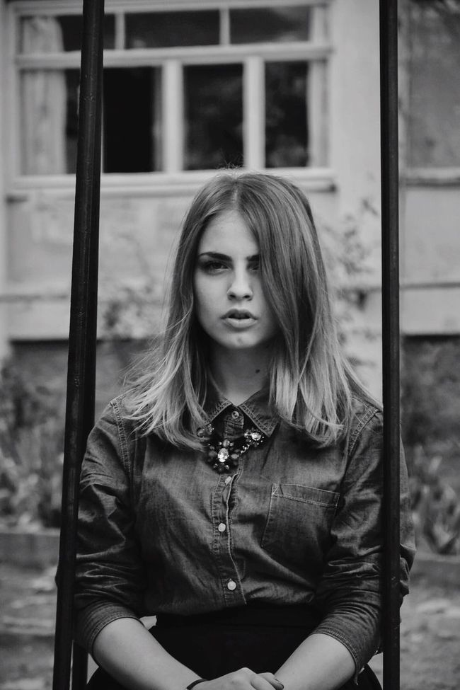Long Hair Focus On Foreground Casual Clothing Leisure Activity Lifestyles Girl Sevastopol  Blackandwhite Black & White Blackandwhite Photography Front View Young Adult Young Women Medium-length Hair Person Blond Hair City Life Day Beauty