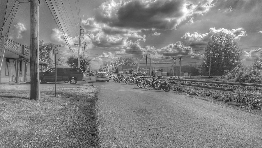Black And White Street Photography Local Watering Hole Line Up Clouds And Sky Electr⚡️cal L❤️ve Harley-Davidson My Bw Obsession Electrick