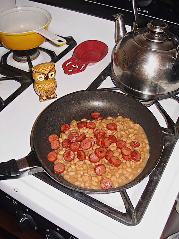 Beans And Weenies Beans Hot Dogs Food And Drink Frying Pan Food Freshness Ready-to-eat Indoors  Stovetop Retro Food Campy
