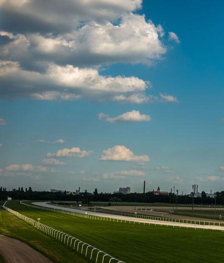 Blue Budapest Cloud - Sky Field Grass Green Color Horizon Over Land Horse Racing Venue Horseracingvenue Kincsem Park No People Non-urban Scene Sky Tranquility