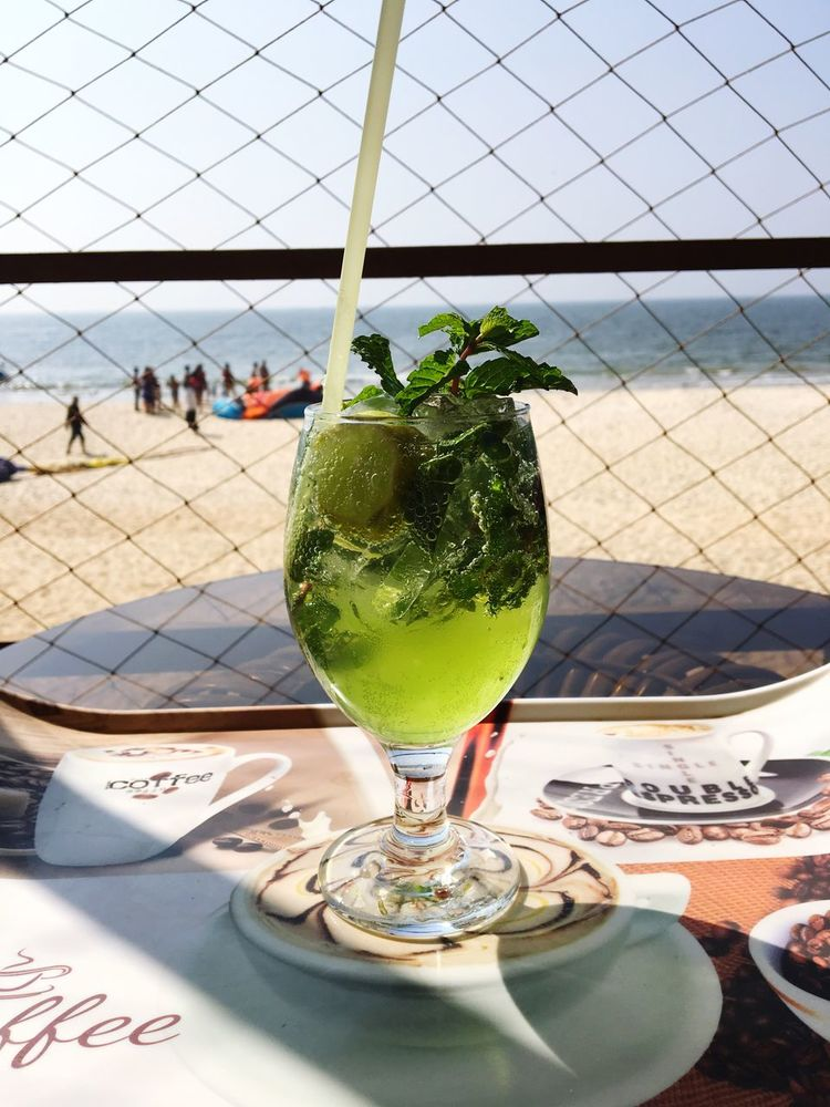 Virgin Mojito on the beach Drink Drinking Glass Freshness Food And Drink Virgin Mojito Beach Cool Mocktail Cocktail First Eyeem Photo