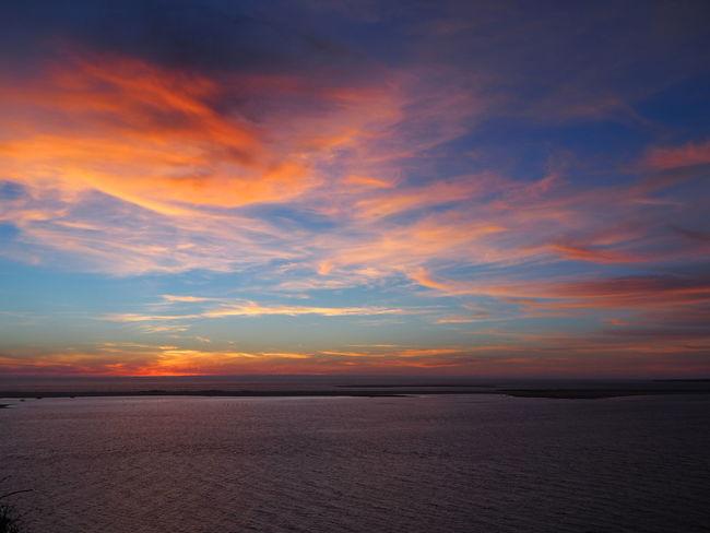 Beauty In Nature Calm Cloud Cloud - Sky Coastline Dune Dune Du Pyla Idyllic Lategram Ocean Orange Color Sea Sky Sunset Tranquil Scene Vacations Water