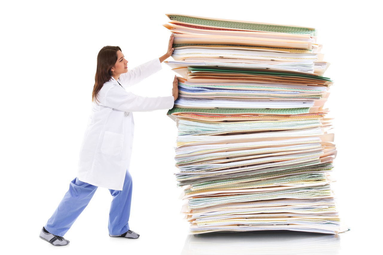 Paper pusher Bureaucracy Clerical Concept Doctor  Health Care Healthcare Insurance Insurance Claim Lawsuit One Person One Woman Only Overworked Paper Pusher Paperwork Red Tape Research Stack Student Loans White Collar Women Work Working