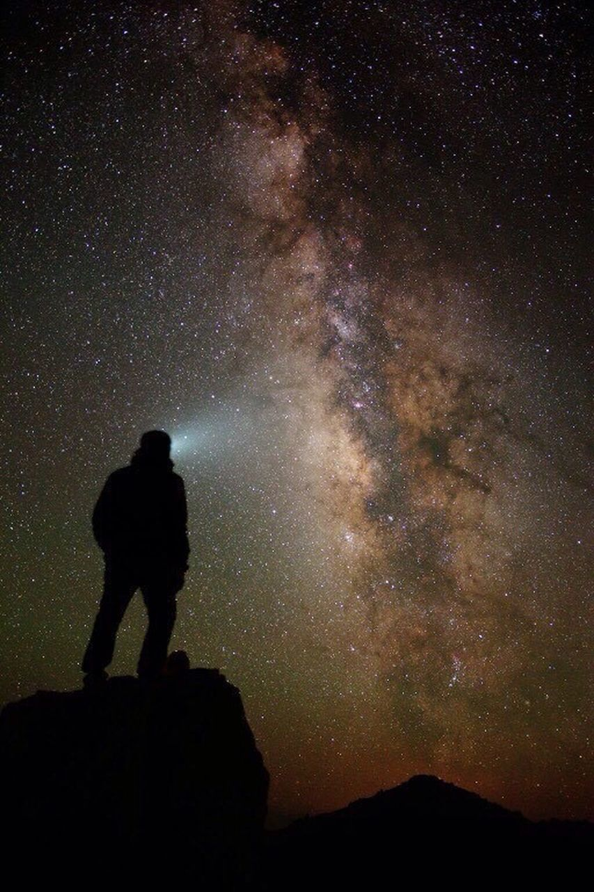 star - space, night, silhouette, astronomy, milky way, galaxy, space, sky, full length, one man only, one person, outdoors, adventure, adults only, constellation, people, adult, only men, nature