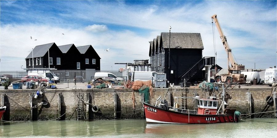 Architecture Cloud - Sky Building Exterior Built_Structure Sky Nautical Vessel Water Outdoors Sea Day City No People Skyscraper Harbor Cityscape Urban Skyline Whitstable Harbor The Great Outdoors - 2017 EyeEm Awards Amazing Beauty Todays Hot Look. BYOPaper! Live For The Story Transportation Moored Let's Go. Together.