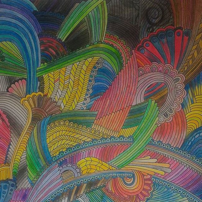 Part of a filled ColourPencil work uses all 120 Colors in Fabrecastell 's set. Origin sketch by PeterDeligdisch