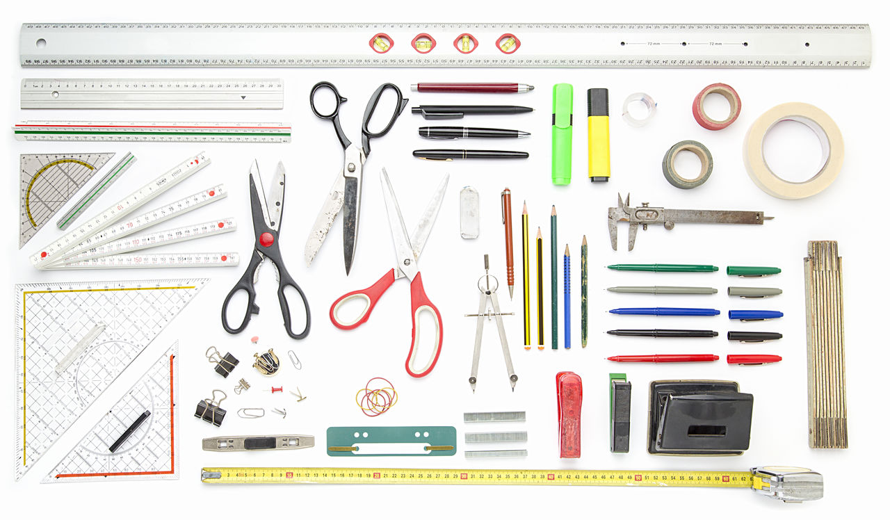 Business Collection Draw Many Measure Office Pen Pencil Ruler School Scissors Set Silllife Supply Tape Tools Top View Work