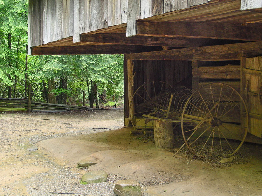 Architecture Barn Building Exterior Built Structure Damaged Day Empty Road Entrance Footpath Narrow No People Outdoors Surface Level Tree Wagonwheels Weathered Worn Out