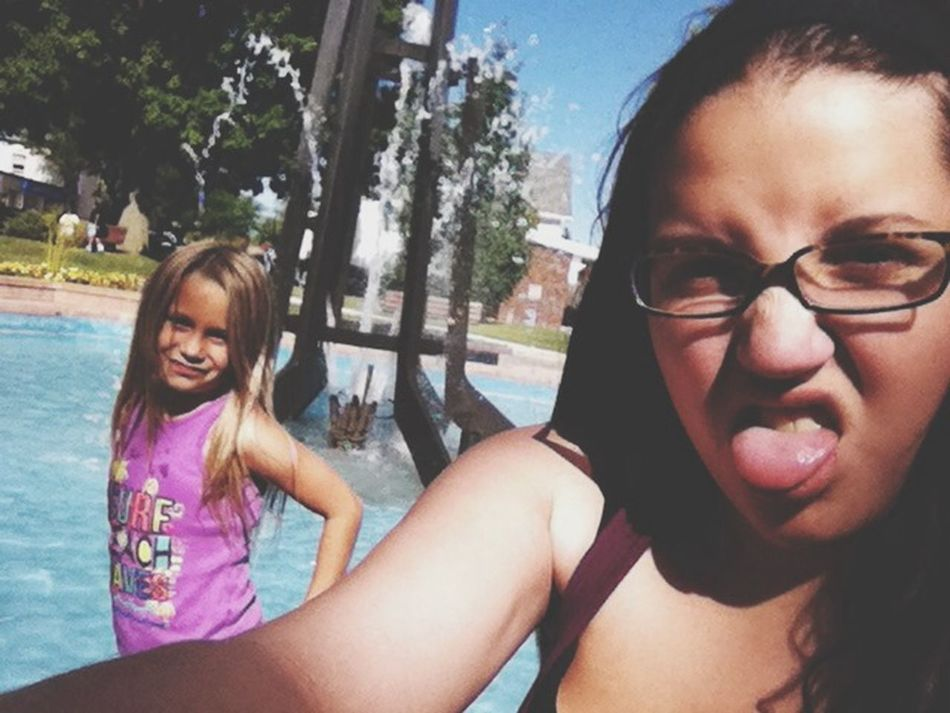 Arn't we cute?? Girls Day Out! Were Cute Fountain Just Chillin'