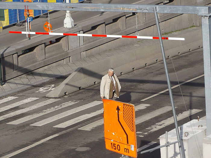 Walk the Line. Streetphotography Adult Adults Only Day Men One Man Only One Person Only Men Outdoors People Yellow Traffic Sign Light And Shadow The City Light