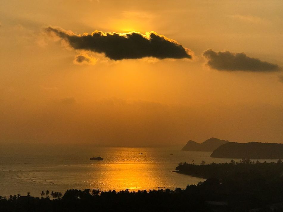 Sea Sunset Beauty In Nature Water Nature Scenics Sky Tranquility Tranquil Scene Silhouette Outdoors No People Horizon Over Water Sun Mountain Day Cloud - Sky Seascape Seaview Thailand Ko Phangan View From Above Horizon Over Land Idyllic Scenery Coastline