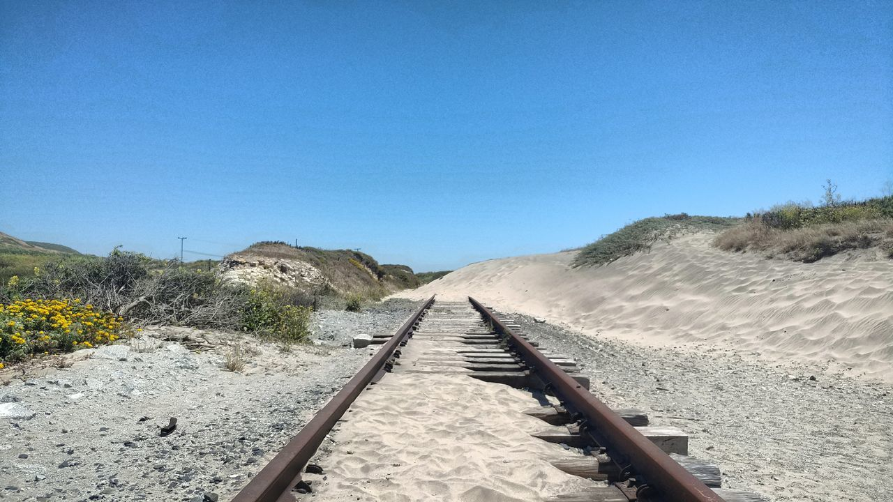 Railroad Track The Way Forward Rail Transportation Transportation Day Outdoors Sand No People Clear Sky Nature Parallel Beauty In Nature Sky Sand Dune EyeEm Nature Lover EyeEm Best Shots - Landscape Blocked Path Northern California Tranquility Power In Nature Landscape Beach Life Remains