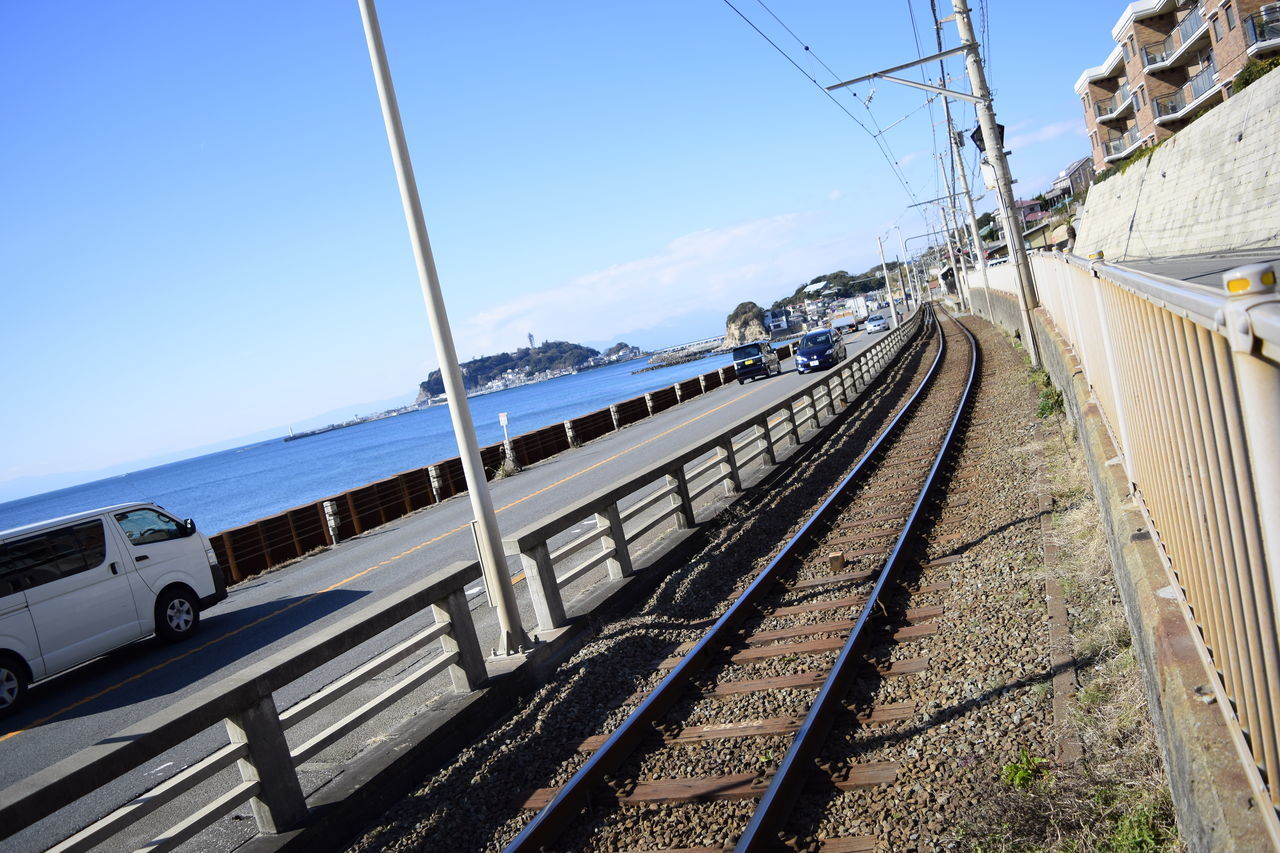 江ノ電 Eyemphotography Railway Rail Train Sky EyeEm Best Shots Day Sea Seaside Seascape Enoshima Sea And Sky Blue Landscape Nature