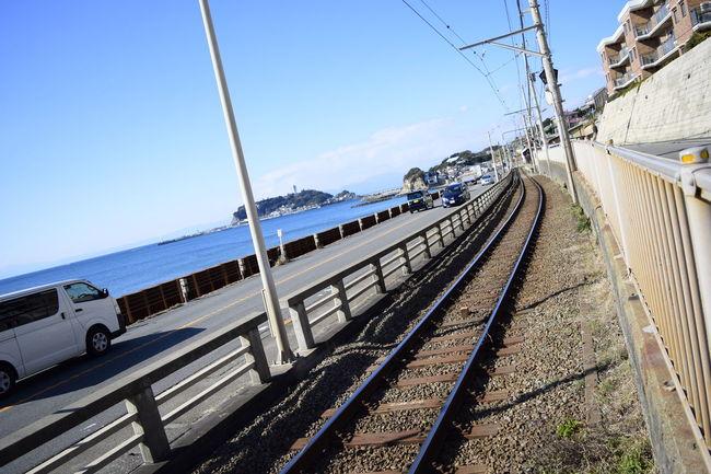 江ノ電 Eyemphotography Railway Rail Train Sky EyeEm Best Shots Day Sea Seaside Seascape Enoshima Sea And Sky Blue Landscape Nature