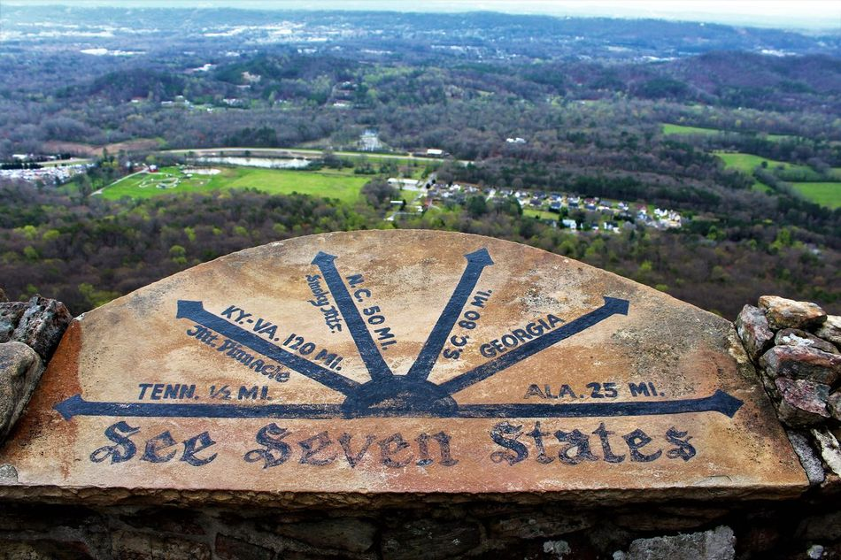 Architecture Building Exterior Built Structure Chattanooga Tennessee City Day Lookout Mountain Minute Hand Mountain View No People Outdoors Plaque Scenery States Tennessee Text Vacations